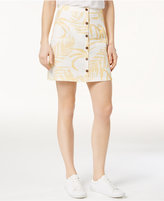 MinkPink Paradise Linen Printed Button-Front Skirt