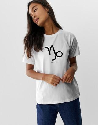 Asos Design DESIGN t-shirt with capricorn aquarius pisces aries starsign print