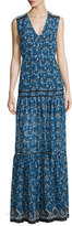 Veronica Beard Tecate Tiered Multipattern Maxi Dress, Blue