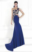 Tarik Ediz One Shoulder Illusion Beaded Gown 92541