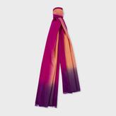 Paul Smith Women's Burnt Orange Dip-Dye Herringbone Cashmere Scarf
