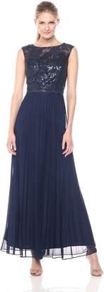Cachet Women's Sleeve Cap with Glitter Illusion Top & Pleated Skirt