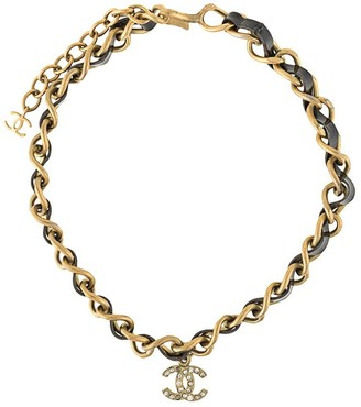 Chanel Pre Owned 1995 CC leather and strap necklace