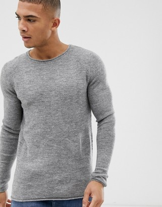 Selected knitted crew neck jumper-Grey