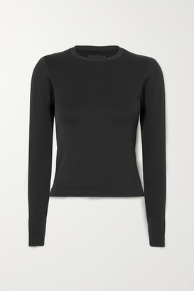 Cordova Signature Ribbed Stretch-knit Top - Black