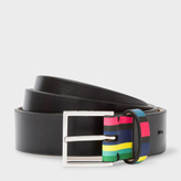 Paul Smith Men's Black Calf Leather Belt With 'Cycle Stripe' Keeper