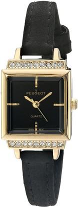 Peugeot Women's Gold Square Petite Black Suede Strap Watch