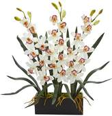 Nearly Natural White Cymbidium Orchid Artificial Arrangement in Black Vase