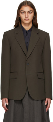 Lemaire Brown Slim Fit Single-Breasted Blazer