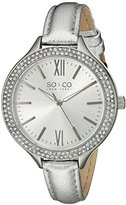 SO&CO New York Women's 5089.1 SoHo Quartz Crystal Accent Silver Leather Band Watch