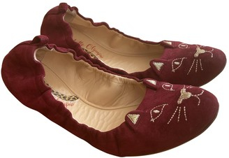Charlotte Olympia Kitty Burgundy Suede Ballet flats