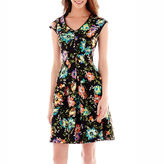 J Taylor Danny & Nicole Sleeveless Floral Print Scuba Fit-and-Flare Dress