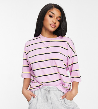 ASOS DESIGN Petite super oversized t-shirt with mixed stripe in lilac yellow and black
