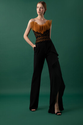 Gemy Maalouf Pleated Tulle Top and Draped Pants