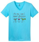 Shirt Patron Brand Funny Rhinestone At My Age I Need Glasses Wine Coctail Women's V Neck T Shirt L Aqua