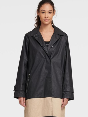 DKNY Women's Colorblock Trench - Black Combo - Size L