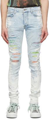 Amiri Blue Bleached Crystal Gradient Jeans