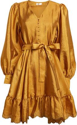 Stine Goya Farrow Satin Blouson Sleeve Dress