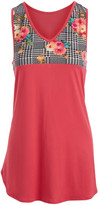 Cool Melon Women's Tank Tops Coral - Fuchsia & Houndstooth Floral-Accent V-Neck Tank - Women