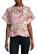 Donna Karan Printed Linen Top