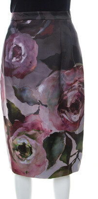 Escada Multicolor Floral Print Knee Length Sheath Skirt L