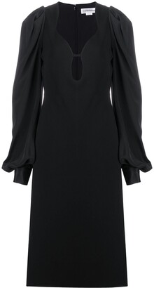 Victoria Beckham Balloon Sleeve Low-Cut Dress