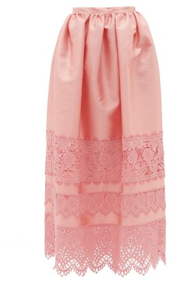 Erdem Jennifer Guipure Lace-trimmed Midi Skirt - Pink