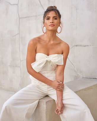 Express Rocky Barnes Linen-Blend Strapless Tie Bow Culotte Jumpsuit