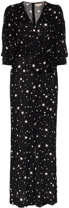 By Ti Mo Star Print Tie-Waist Jumpsuit