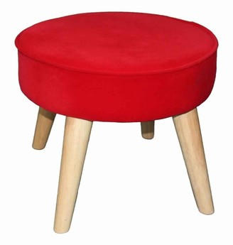 Overstock Fabric Upholstered Wooden Footstool with Dowel Legs, Red and Brown