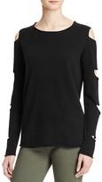 Aqua Cashmere Slashed Arm Cashmere Sweater