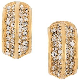 Christian Dior 1980s Pre-Owned Rhinestone-Embellished Half-Hoop Earrings