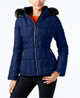 Calvin Klein Faux-Fur-Trim Hooded Water-Resistant Puffer Coat