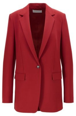 HUGO BOSS Regular Fit Jacket In Portuguese Twill With Buttoned Cuffs - Dark Red