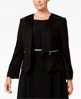Nine West Plus Size Faux-Leather-Trim Blazer