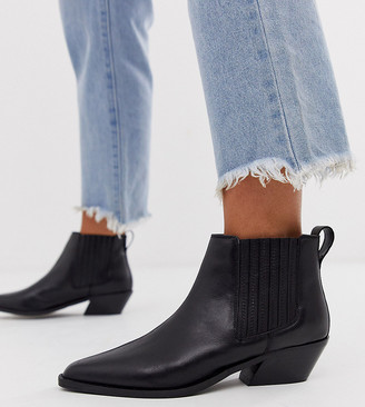 ASOS DESIGN Wide Fit Adelaide leather western chelsea boots in black