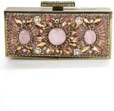 Mary Frances Gold Tone Metal Pink Embellished Clutch Handbag