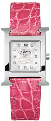 Hermes Heure H 21MM Stainless Steel & Alligator Strap Watch