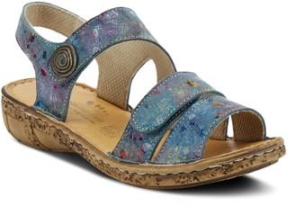 Spring Step Floral Printed Adjustable Leather Sandals - Tadell