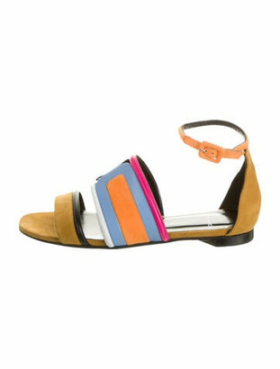 Pierre Hardy Suede Colorblock Pattern Gladiator Sandals Yellow