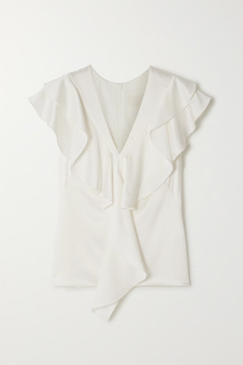 Peter Pilotto Ruffled Satin-crepe Top - White