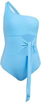 JADE SWIM Collision Tie-front Cutout Swimsuit - Womens - Blue