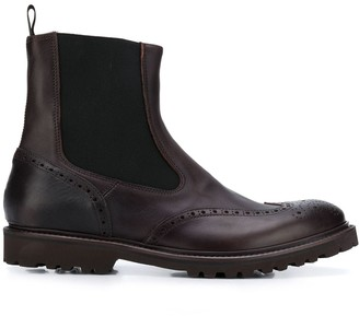 Eleventy Leather Brogue Boots