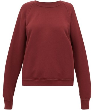 LES TIEN Raglan-sleeve Cotton Sweatshirt - Burgundy