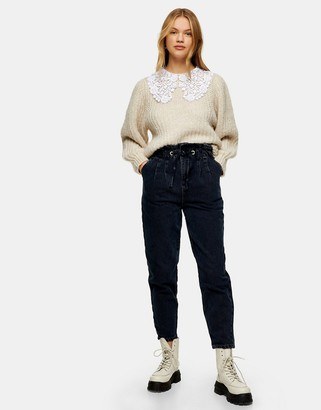 Topshop Mom jeans in blue black