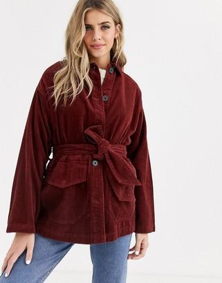 Asos Design DESIGN cord belted jacket in rust-Brown