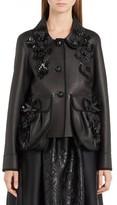 Fendi Women's Floral Applique Nappa Leather Jacket