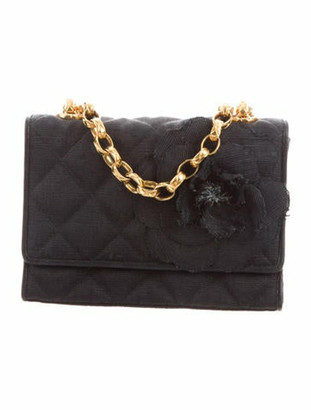 Chanel Vintage Quilted Camellia Flap Bag Navy