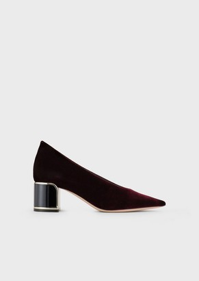 Giorgio Armani Velvety Leather Court Shoes With Lacquered Art-Deco Heel