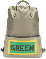 Fendi Green slogan drawstring backpack
